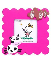 Square Photo Frame Cow Design - Pink