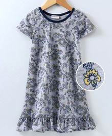 Crayonflakes Half Sleeves Floral Print Night Dress - Grey