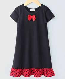 Crayonflakes Half Sleeves Polka Dot Print Hemline Night Dress - Black