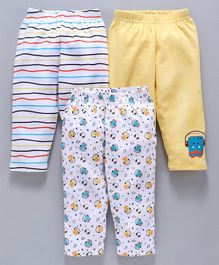 Babyhug Ankle Length Cotton Lounge Pants Multi Print Pack Of 3 - Multicolor