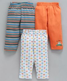Babyhug Full Length Stripes & Vehicle Printed Lounge Pants Pack of 3 - Orange White
