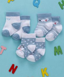 Cute Walk by Babyhug Anti Bacterial Non Terry Ankle Length Socks Pack of 3 - White Blue
