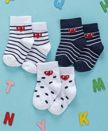 Cute Walk by Babyhug Anti Bacterial Non Terry Ankle Length Stripe Socks Pack of 3 - White Blue