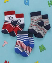 Cute Walk by Babyhug Anti Bacterial Non Terry Ankle Length Stripe Socks Pack of 3 - White Blue Red