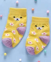 Cute Walk By Babyhug Non Terry Antibacterial Ankle Length Socks Floral Design - Yellow