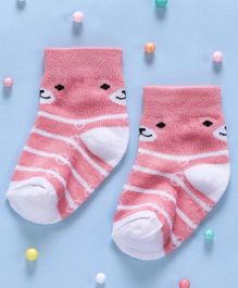 Cute Walk By Babyhug Non Terry Antibacterial Striped Ankle Length Socks - Pink