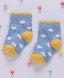 Cute Walk By Babyhug Non Terry Antibacterial Ankle Length Socks Star Design - Blue Yellow
