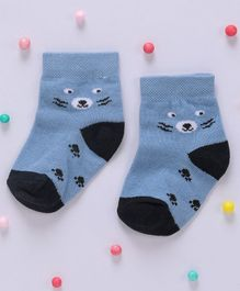 Cute Walk By Babyhug Non Terry Antibacterial Ankle Length Socks Paw Design - Blue