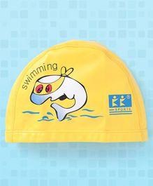 Tahanis Shark Print Waterproof Silicone Swimming Cap - Yellow
