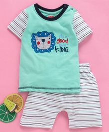 Babyhug  Half Sleeves Tee With Shorts Lion Patch - Green