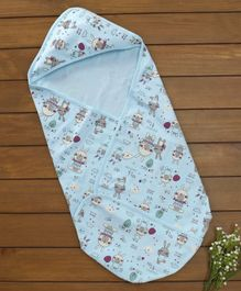 Baby Naturelle & Me Hooded Wrapper Bunny Print - Light Blue