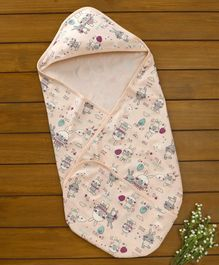 Baby Naturelle & Me Hooded Wrapper Bunny Print - Peach