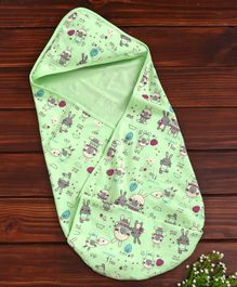 Baby Naturelle & Me Hooded Wrapper Bunny Print - Green