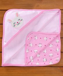 Baby Naturelle & Me Hooded Wrapper Bunny Patch - Pink