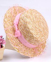 a3269ad9172df Babyhug Hat With Adjustable String Bow Design - Cream Light Pink