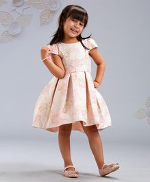 Mark & Mia Cap Sleeves Frock Rose Embossed - Light Peach