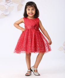 Mark & Mia Sleeveless Glitter Party Wear Frock - Red