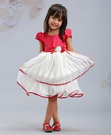 Mark & Mia Short Sleeves Solid Color Party Wear Frock - Red White