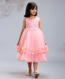 Mark & Mia Sleeveless Party Wear Frock Floral Embellishment - Peach