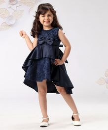 6494b17cf9e21 Mark & Mia Layered Embroidered Sleeveless Frock Pearl Embellished - Navy