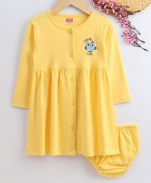 Babyhug Full Sleeves Cotton Frock With Bloomer - Yellow