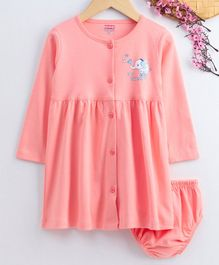 Babyhug Full Sleeves Cotton Frock With Bloomer - Peach