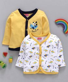 Babyhug Full Sleeves Cotton Vests Airplane Print Pack of 2 - Yellow White
