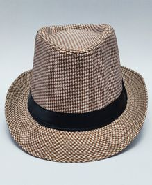 Kid-O-World Checked Hat - Brown