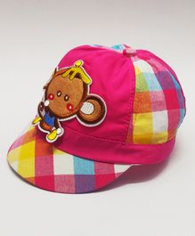 Kid-O-World Checkered Monkey Patch Cap - Pink
