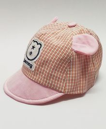Kid-O-World Infant Checkered Bear Ears Applique Cap - Pink
