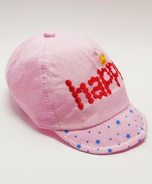 Kid-O-World Happy Embroidery Cap - Light Pink