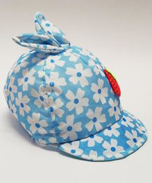 Kid-O-World Floral Print Bunny Ears Cap - Light Blue