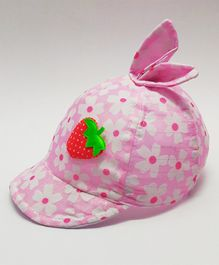 Kid-O-World Infant Floral Print Bunny Ears Cap - Light Pink