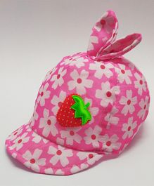Kid-O-World Infant Floral Print Bunny Ears Cap - Dark Pink