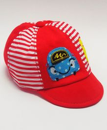 Kid-O-World Car Patch Striped Cap - Red