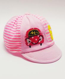 Kid-O-World Car Patch Striped Cap - Pink