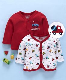 Babyhug Full Sleeves Cotton Vests Car Print Pack of 2 - Red White