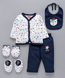 Babyhug Clothing Gift Set Sports Print Blue - 5 Pieces