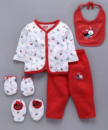 Babyhug Clothing Gift Set Bunny Print Red- 5 Pieces