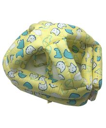 Syga Kitty Print Baby Head Protector With Cushion Bonnet - Yellow