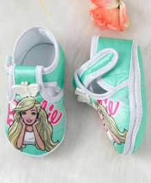 Barbie Character Printed Booties Butterfly Patch - Sea Green