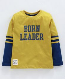 Ollypop Full Sleeves Sinker Fabric Tee Born Leader Print - Mustard Yellow