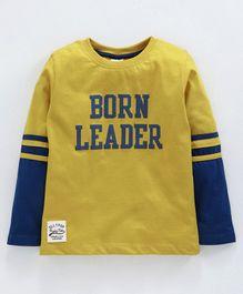 b0c8f55586 Ollypop Full Sleeves Sinker Fabric Tee Born Leader Print - Mustard Yellow