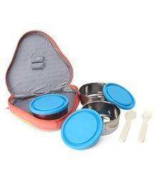 Cello Homeware Eat-N-Eat 3 Container With Fork & Spoon Lunch Box - Yellow & Orange