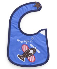 Babyhug Cotton Bib Velcro Closure Airplane Embroidered - Blue