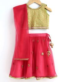 Babyoye Sleeveless  Lehenga Choli & Dupatta Set With Jari Border Work - Golden Pink