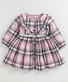 Babyoye Cotton Full Sleeves Frock Checked - Pink White