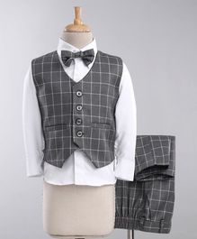Jeet Ethnics Checkered Full Sleeves 3 Piece Party Suit With Bow - Grey & White