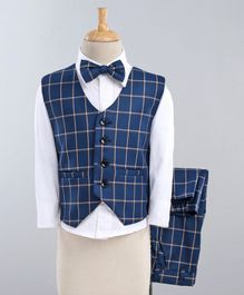 Jeet Ethnics Checkered Full Sleeves 3 Piece Party Suit With Bow - White & Blue