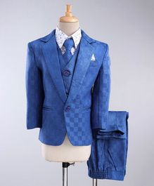 Jeet Ethnics Full Sleeves Checked Self Design Four Piece Party Suit With Tie - Blue